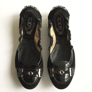 Tods Ballet Flats Black Loafers